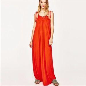 Zara orange tie strap maxi dress